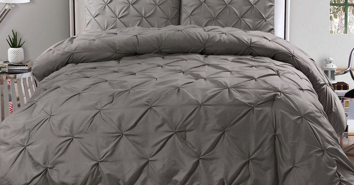 3-piece king or queen pinch pleat duvet cover & sham set for $32, free shipping