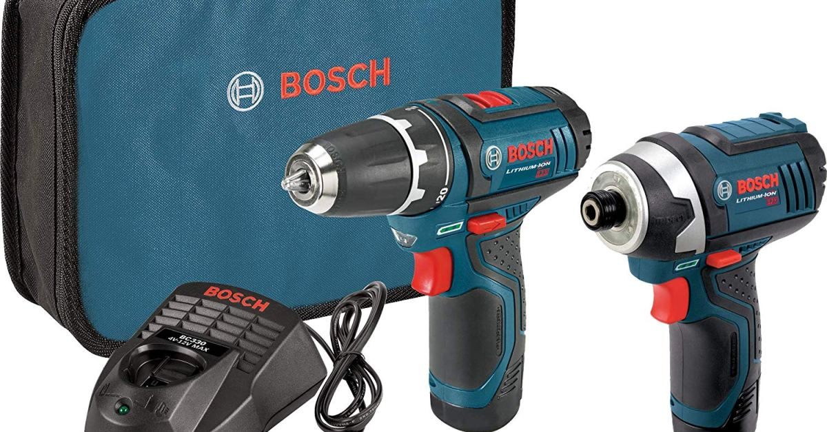 Bosch 12-volt max drill/driver combo kit with 2 batteries for $82
