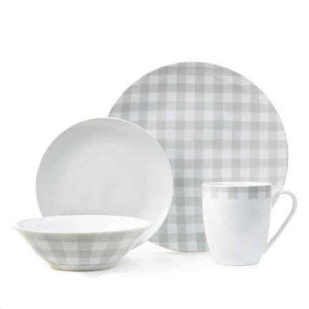16-piece plaid porcelain dinnerware set for $20