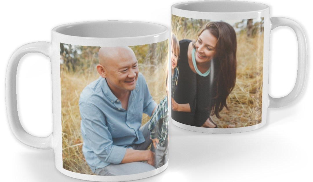 Custom full photo & design 11-oz mugs for $5