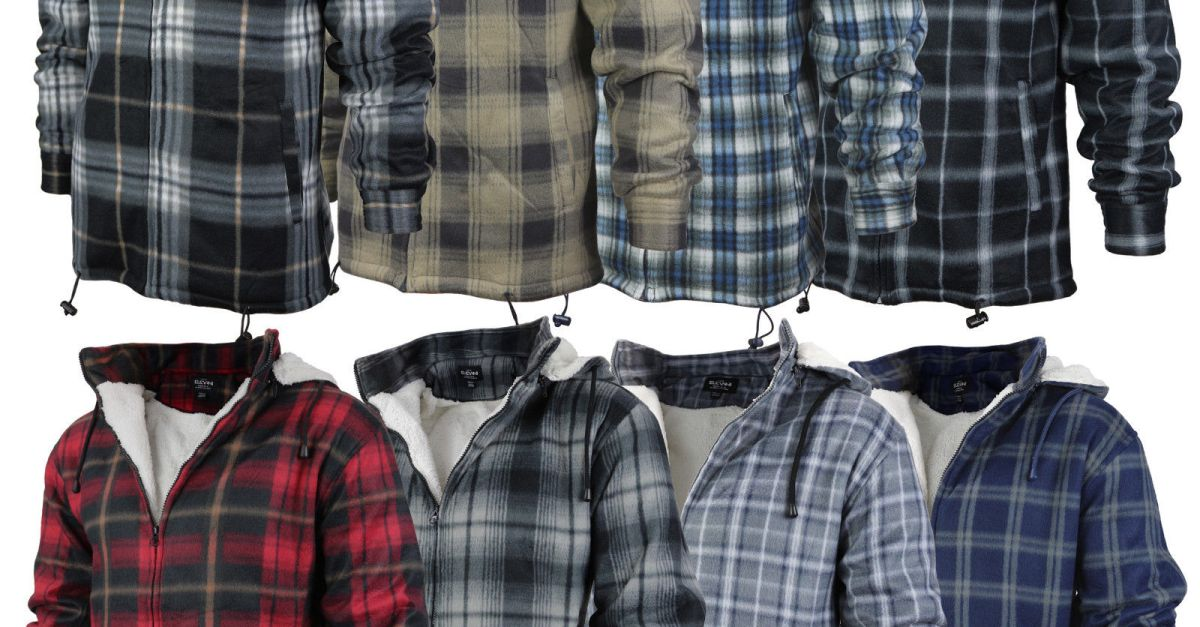 Men's heavy fleece-lined sherpa plaid flannel jacket with hood for $25, free shipping