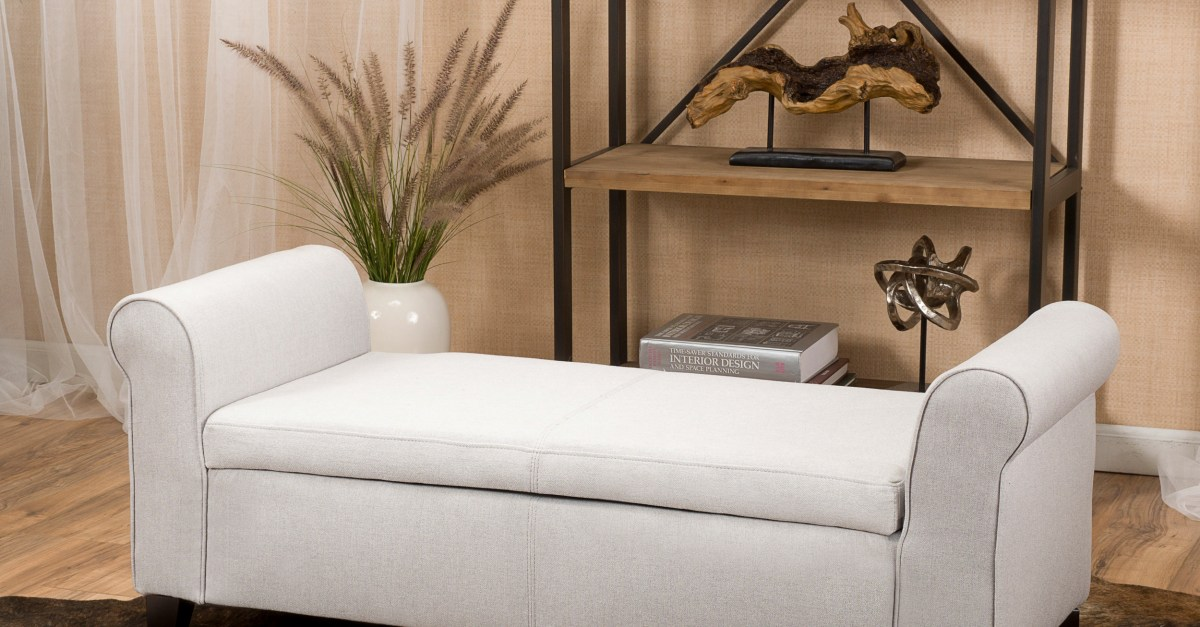 Noble House Haden armed storage bench ottoman for $113