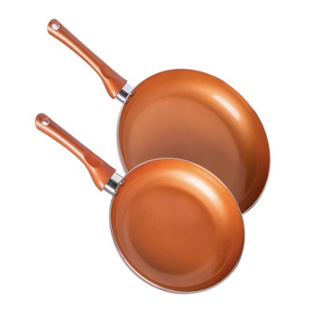 Set of 2 nonstick copper pans, 8″ & 10″ for $6