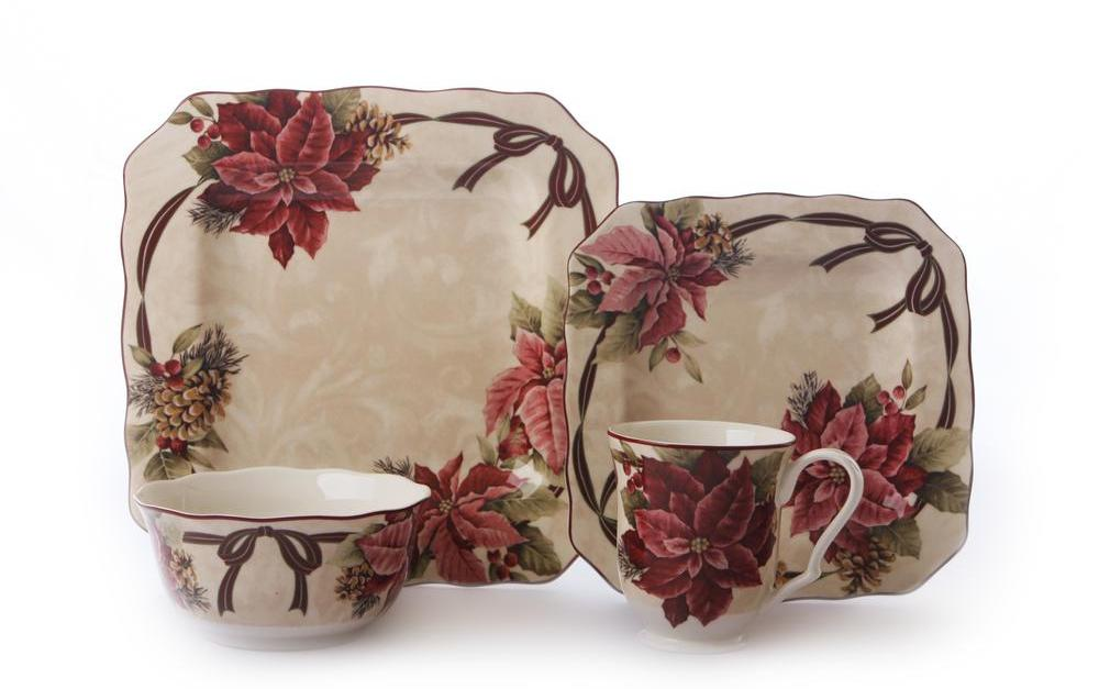 16-piece 222 Fifth holiday dinnerware sets for $28, free shipping