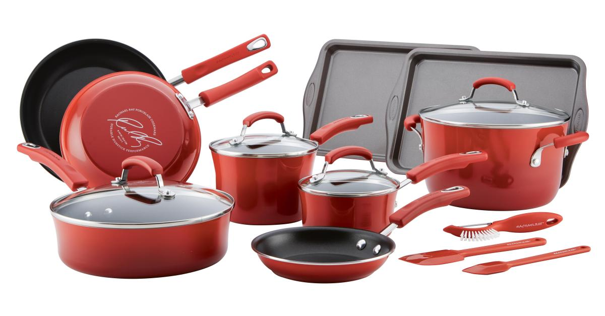 16-piece Rachael Ray nonstick cookware set for $65