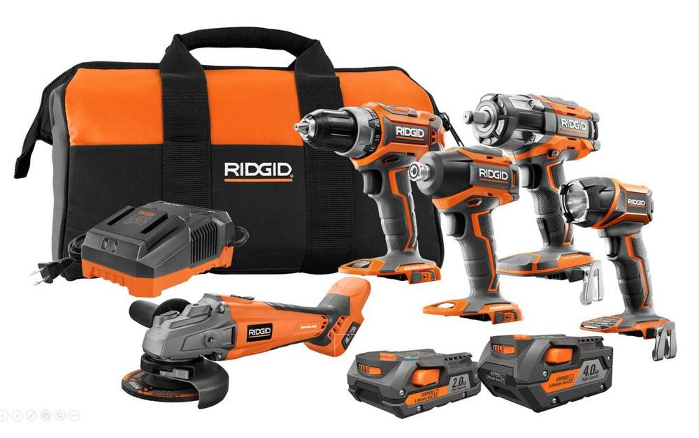 Ridgid 18-volt brushless 5-tool combo kit for $349