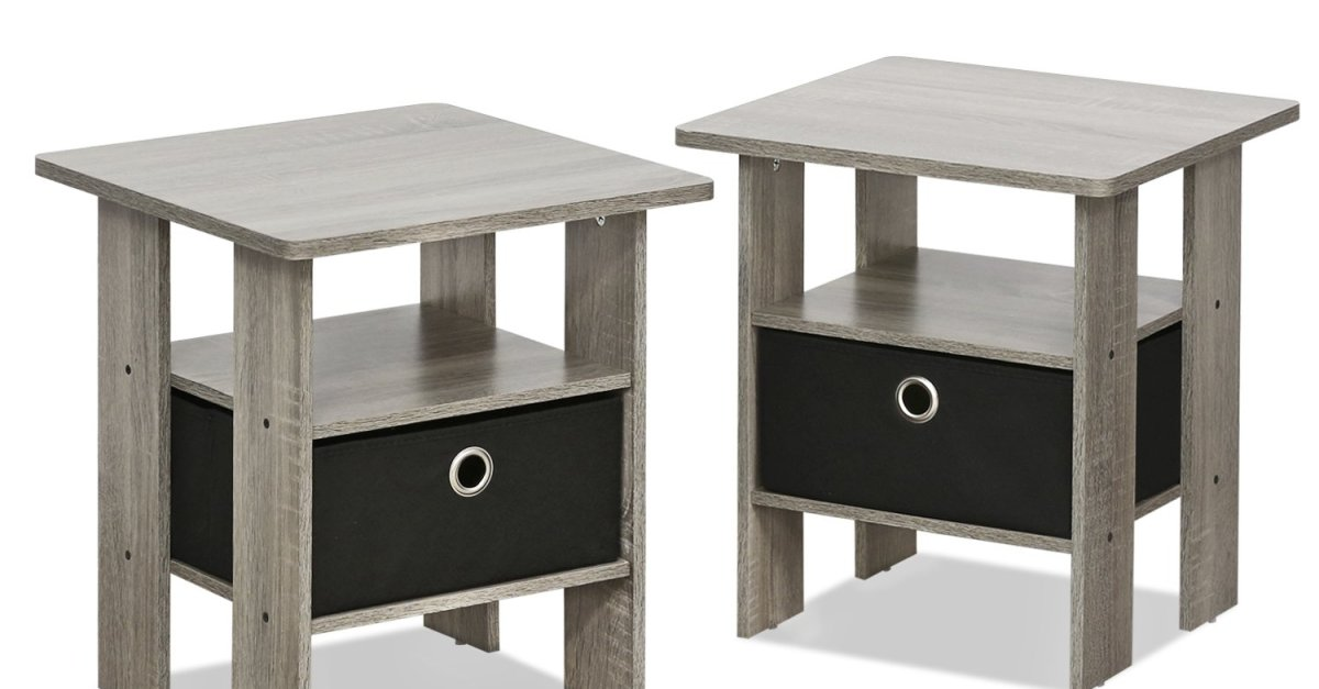 2-pack Furinno Andrey end table nightstand with bin drawer for $31