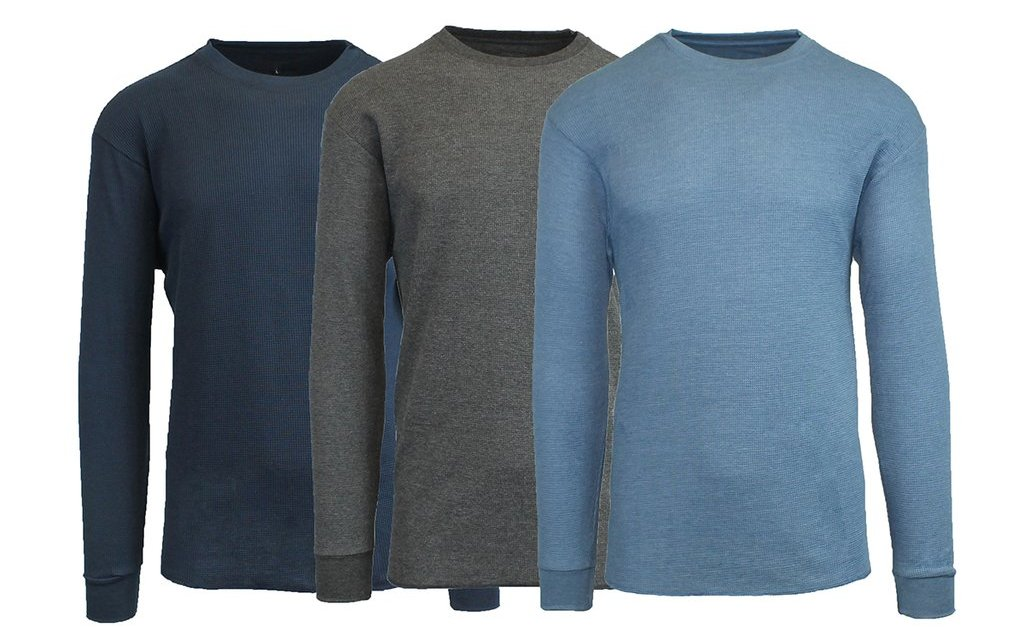 3-pack men's waffle-knit thermal shirts for $14, free shipping