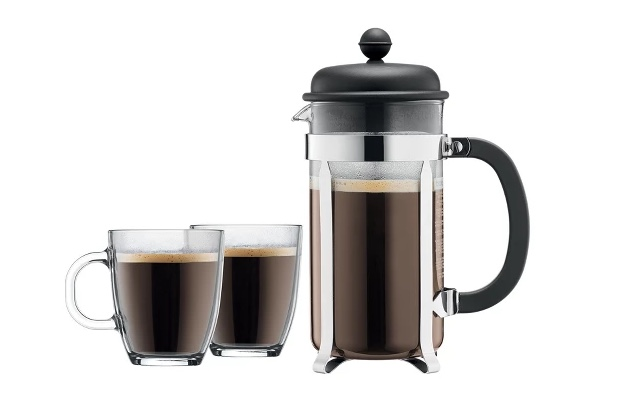 Bodum Brazil 8-cup French press coffee maker with mugs for $10