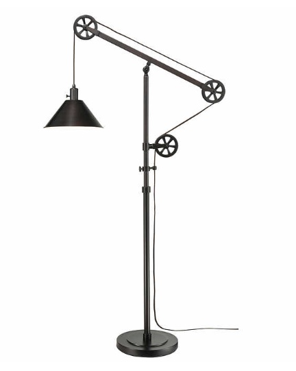 Bronze finish pulley floor lamp for $60