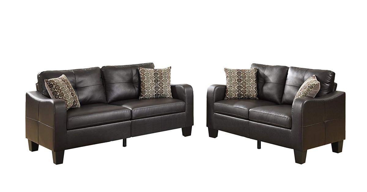 2-piece Poundex Bobkona Spencer bonded leather sofa set for $311 ...