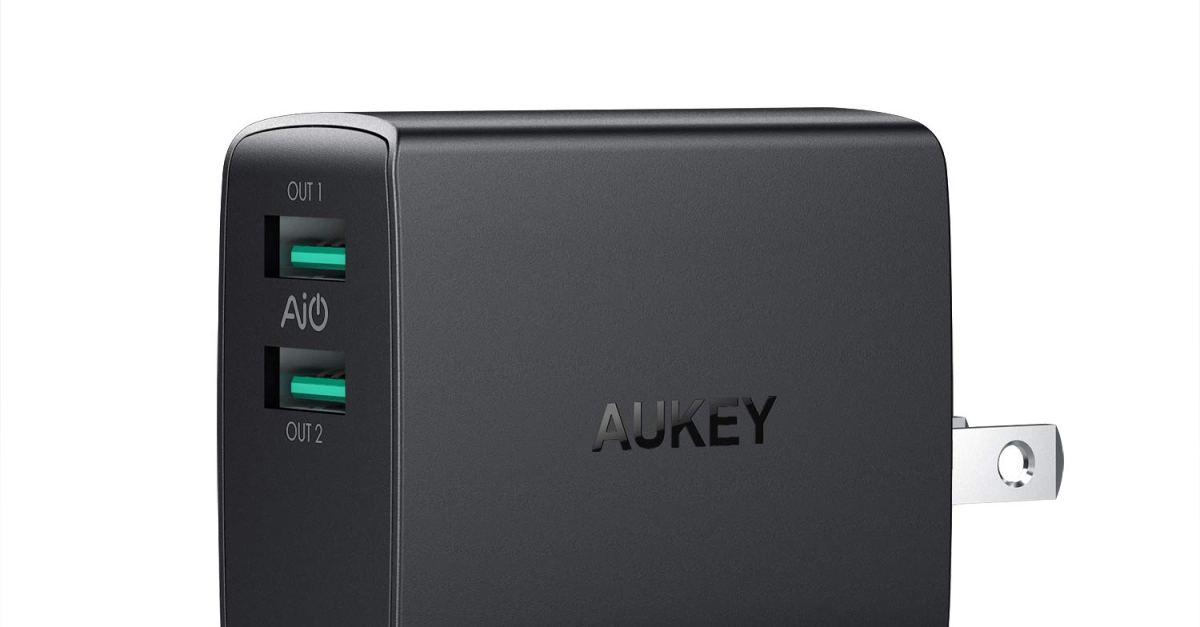 Aukey dual port USB wall charger with foldable plug for $8