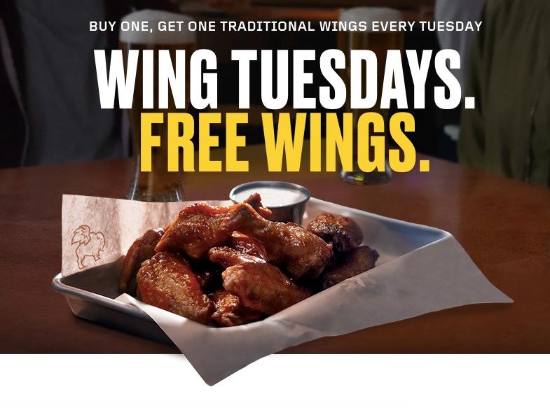 Buffalo Wild Wings: Enjoy BOGO wings every Tuesday!