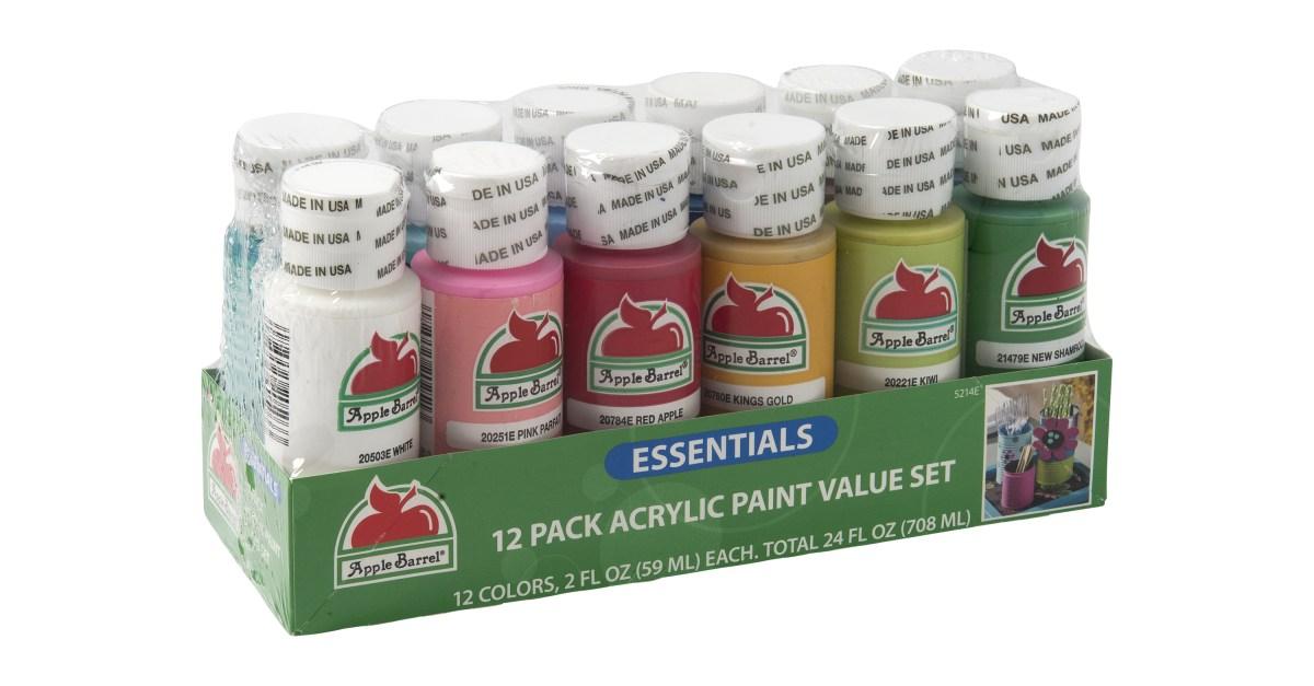 Apple Barrel Essentials 12-color paint set for $5