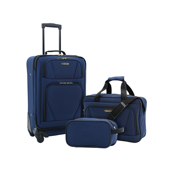 Traveler's Club 3-piece expandable 4-wheel carry-on set for $35