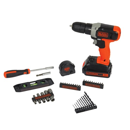 Black + Decker 20-volt cordless drill with 44-piece project kit for $35