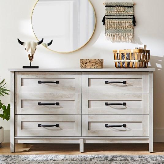 Better Homes & Gardens farmhouse 6-drawer dresser for $220