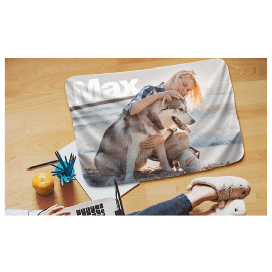 Personalized 40″ x 27″ fleece photo blanket for $5