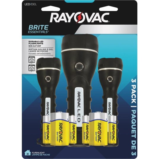 Rayovac Brite Essentials 3-pack rubberized flashlights with batteries for $10