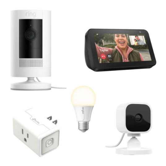 Ring Stick Up Cam, Amazon Echo Show, Blink Indoor Cam & smart plug for $115 + FREE A19 bulb