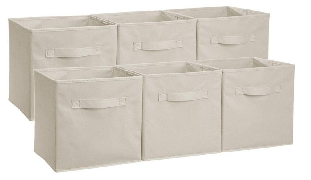 Prime members: 6-pack AmazonBasics collapsible fabric bins for $11