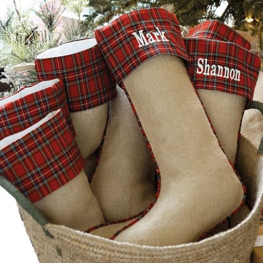 Suzanne Kasler burlap & red plaid stocking with FREE monogram for $17 shipped