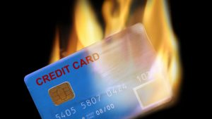 credit card on fire
