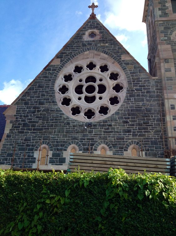 Completed rose window restoration, St Joseph's Church, Ballycranbeg