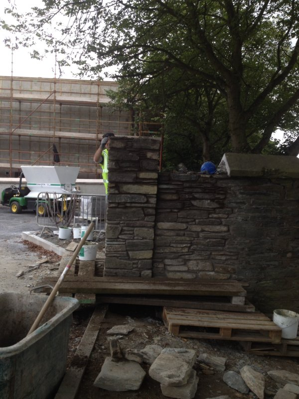 Stone Pillars being built at Brooke Park