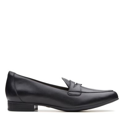 Ladies Black Leather Slip On Shoes