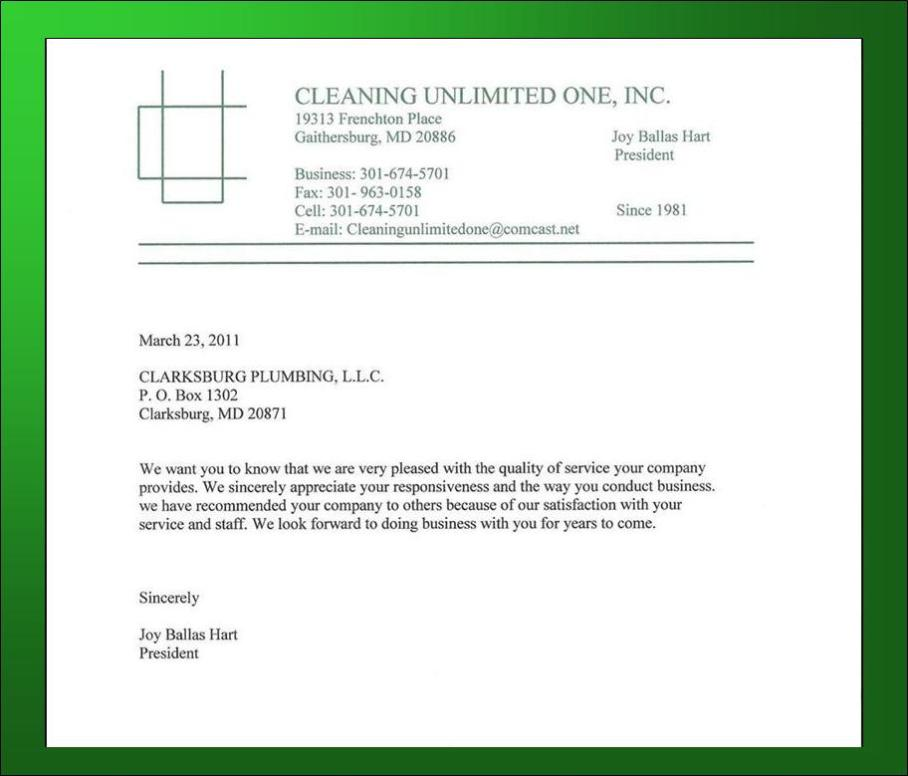 arecomm letter Cleaning Unlimited