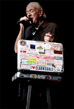 Clarksdale friend and Clarksdale advocate, Charlie Musselwhite with his famous harp briefcase.