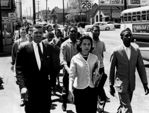 Diane Nash leads a civil rights march.