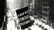 """Hanging sign, """"A Man was Lynched Yesterday."""""""