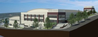 Plans for the MPEC, shown from First and Main Streets.