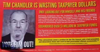A mailer created by theLeadership Project PAC criticizing incumbent Ward 4 City Councilor Tim Chandler