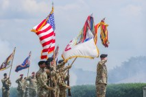 The division colors approach and salute as the national anthem is played during the division's change of responsibility May 27, 2021. (U.S. Army photo by Spc. John Simpson, 40th Detachment public affairs)