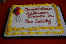 A cake celebrating the new Clarksville Fire Rescue Maintenance Garage at the ribbon cutting on Wed July 7 2021 (Lee Erwin).