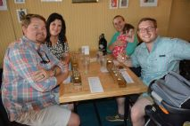 Customers who have been shopping in downtown Clarksville take a break and enjoy a plank of mead at Trazo Meadery, 116 Franklin St. downtown -City of Clarksville in May 2021 (Lee Erwin).