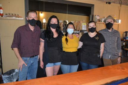The staff at Trazo Mead are ready to serve up a glass or board of mead or a menu filled with meats, cheeses and bread at 116 Franklin St. downtown of Clarksville in May 2021 (Lee Erwin).