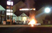 Car Catches Fire at Gas Station