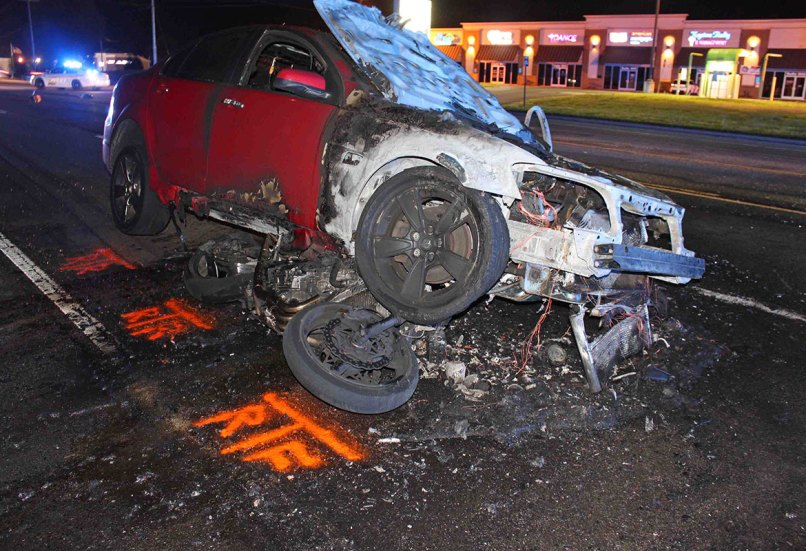 Motorcycle Rider Injured In Fiery Crash