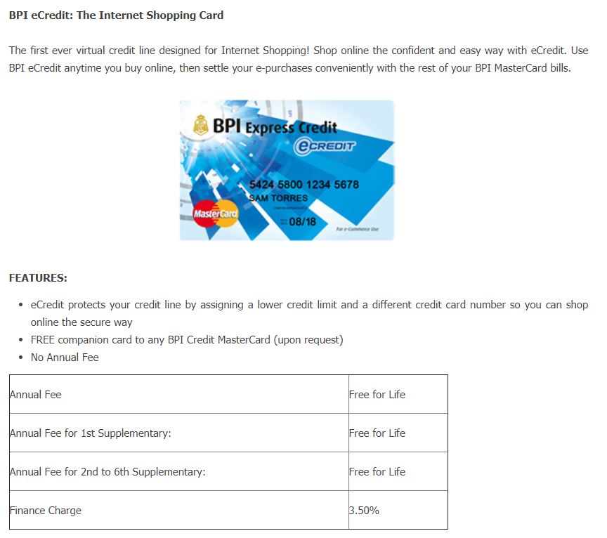 Some people believe that you should avoid getting a credit card as they generate debt. Bpi Ecredit The Internet Shopping Card Finds