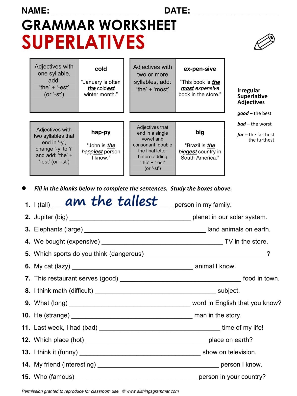 Comparative And Superlative Forms Of Adjectives Worksheet