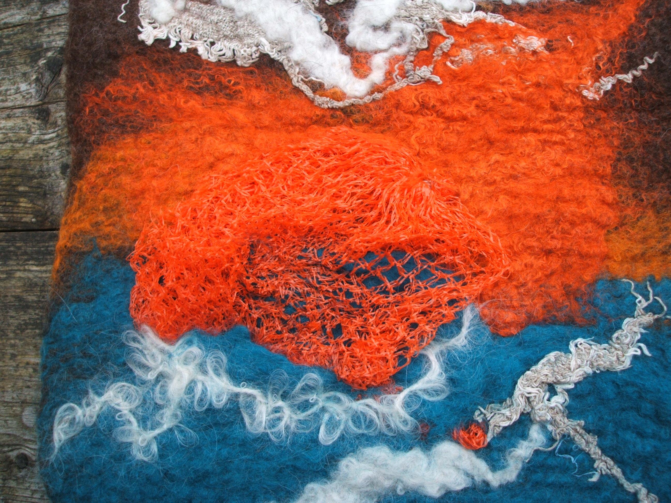 Detail of plastic onion net in felt