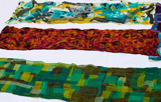 Nuno mosaic scarves made at a workshop Sigrid tutored in Italy