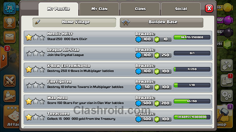 Clash of Clans Achievements, How to Complete COC Achievements, how to earn XP and rewards in COC
