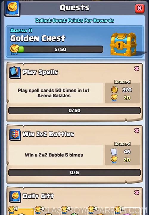 quests menu