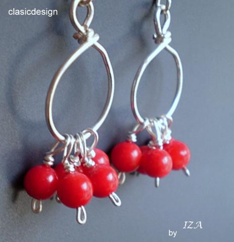 cercei-argint-coral-bijuterii pietre  semipretioase