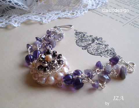 bratara -argint-ametist-perle naturale